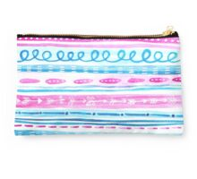 Lined Pink and Blue Boho Watercolour Pattern Studio Pouch