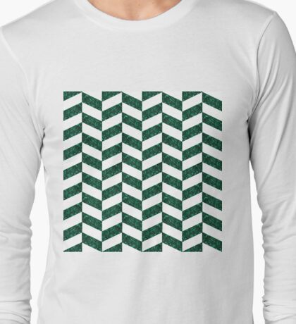 White Onyx and Malachite Herringbone Long Sleeve T-Shirt