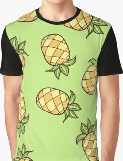 Summertime Pineapple Fruits Square Graphic T-Shirt