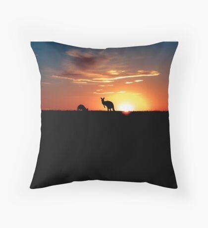 Kangaroos at Sunset Throw Pillow