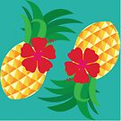 Tropical Pineapple and Hibiscus Summer by Tee Brain Creative