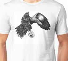 Raven with a full moon on a wing and a wolf in the ball Unisex T-Shirt