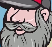 Hillbilly Man Beard Circle Cartoon Sticker