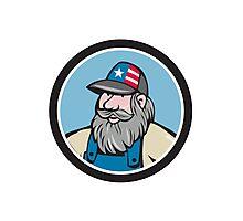 Hillbilly Man Beard Circle Cartoon Photographic Print