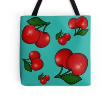 Retro Cherry Pattern on Teal Tote Bag