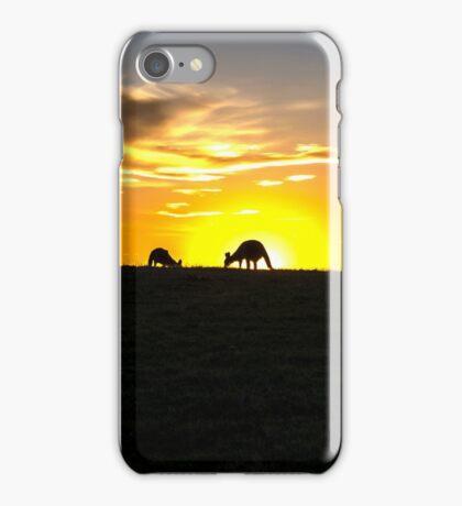 Silhouette of Kangaroos at  Sunset iPhone Case/Skin