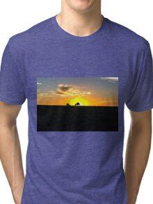 Silhouette of Kangaroos at  Sunset Tri-blend T-Shirt