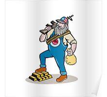 Hillbilly Man Rifle Gold Bars Money Bag Cartoon Poster