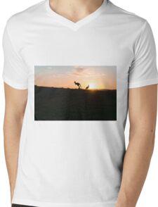 Silhouette of a Jumping Kangaroo at Sunset Mens V-Neck T-Shirt