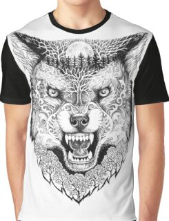 Head wolf grinning with trees and moon on fur Graphic T-Shirt
