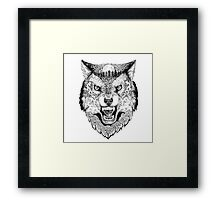Head wolf grinning with trees and moon on fur Framed Print