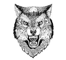 Head wolf grinning with trees and moon on fur Photographic Print
