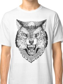 Head wolf grinning with trees and moon on fur Classic T-Shirt