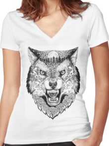 Head wolf grinning with trees and moon on fur Women's Fitted V-Neck T-Shirt