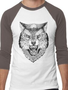 Head wolf grinning with trees and moon on fur Men's Baseball ¾ T-Shirt