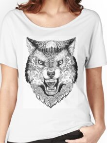 Head wolf grinning with trees and moon on fur Women's Relaxed Fit T-Shirt