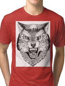 Head wolf grinning with trees and moon on fur Tri-blend T-Shirt