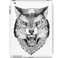 Head wolf grinning with trees and moon on fur iPad Case/Skin