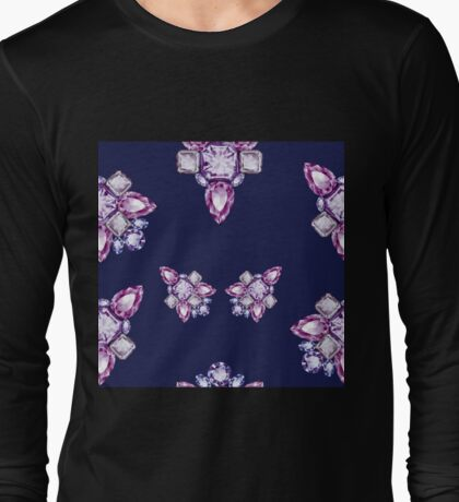 Jewelbox: Amethyst Brooch on Indigo Ink Long Sleeve T-Shirt