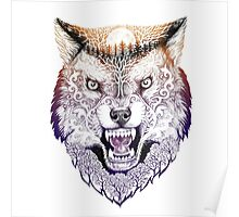 Head wolf grinning with trees and moon on fur (color) Poster