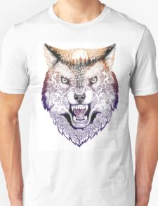 Head wolf grinning with trees and moon on fur (color) Unisex T-Shirt