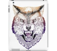 Head wolf grinning with trees and moon on fur (color) iPad Case/Skin