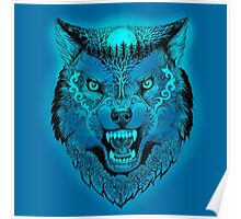 Head wolf grinning with trees and moon on fur (color fon) Poster