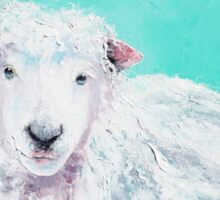 Sheep painting on turquoise - Jeremiah Sticker