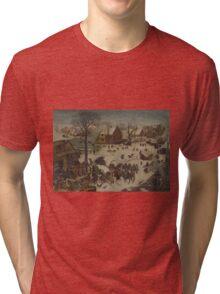 Pieter Bruegel the Elder - The Numbering at Bethlehem . Winter  Landscape Tri-blend T-Shirt