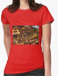 Pieter Bruegel the Elder - The Dutch Proverbs  Womens Fitted T-Shirt