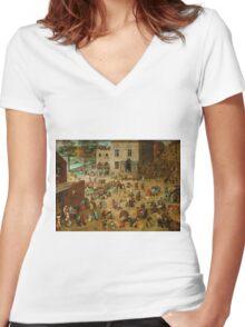 Pieter Bruegel the Elder - Children's Games  Women's Fitted V-Neck T-Shirt