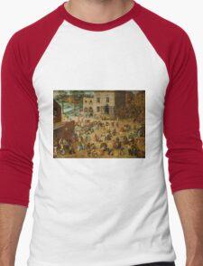 Pieter Bruegel the Elder - Children's Games  Men's Baseball ¾ T-Shirt