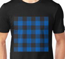 90's Buffalo Check Plaid in Cobalt Dutch Blue + Black Unisex T-Shirt