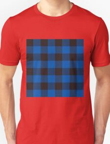 90's Buffalo Check Plaid in Cobalt Dutch Blue + Black Unisex T-Shirt