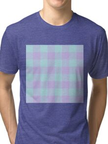 90's Buffalo Check Plaid in Aqua Mint and Lilac Pastel Tri-blend T-Shirt