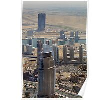 Photography of tall buildings, skyscrapers from Dubai seen from above. United Arab Emirates. Poster