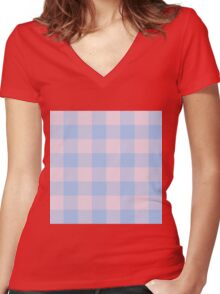 90's Buffalo Check Plaid in Baby Blue and Baby Pink Women's Fitted V-Neck T-Shirt
