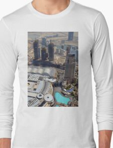 Photography of tall buildings, skyscrapers from Dubai seen from above. United Arab Emirates. Long Sleeve T-Shirt