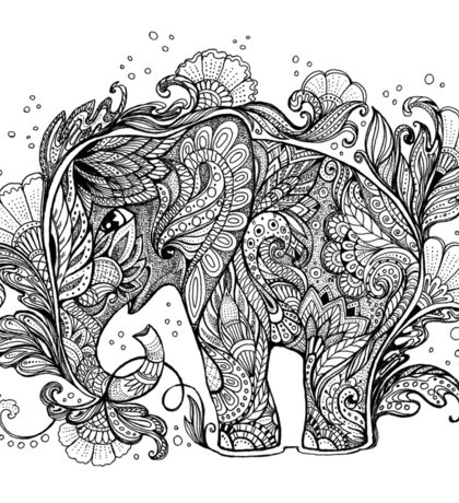 Beautiful elephant with floral ornament Sticker