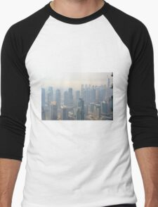 Photography of tall buildings, skyscrapers from Dubai. United Arab Emirates. Men's Baseball ¾ T-Shirt