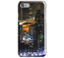 Photography of tall buildings, skyscrapers from Dubai at night. United Arab Emirates. iPhone Case/Skin