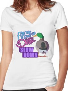 Slow Down for Duke Women's Fitted V-Neck T-Shirt