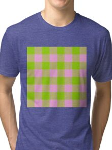 90's Buffalo Check Plaid in Lime and Bubblegum Pink Tri-blend T-Shirt