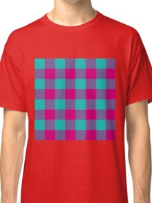90's Buffalo Check Plaid in Teal and Hot Pink Magenta Classic T-Shirt