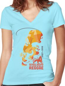 Dennis Brown The Crown Prince Of Reggae Women's Fitted V-Neck T-Shirt