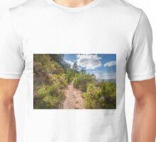 Sunlit mountain trail Unisex T-Shirt