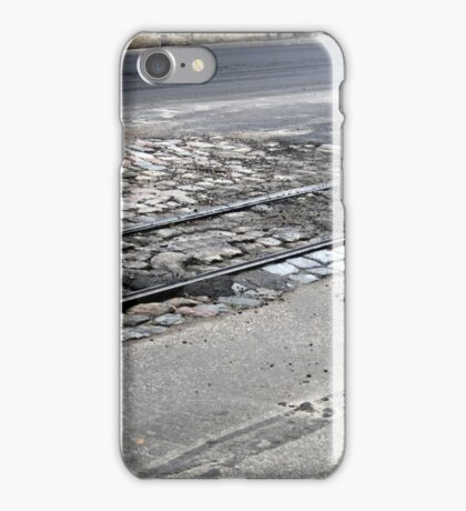 The end of the railway line, on asphalt iPhone Case/Skin