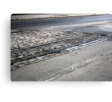 The end of the railway line, on asphalt Canvas Print