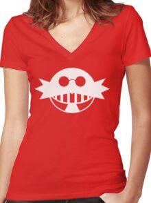 Dr. Eggman White Women's Fitted V-Neck T-Shirt