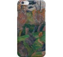 Paul Gauguin - Bretagnelandskap med kuer 1889 iPhone Case/Skin